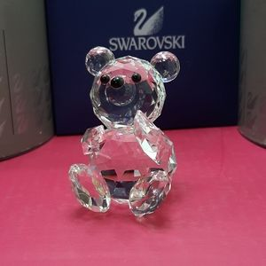 Swarovski Crystal bear figurine black nose eyes